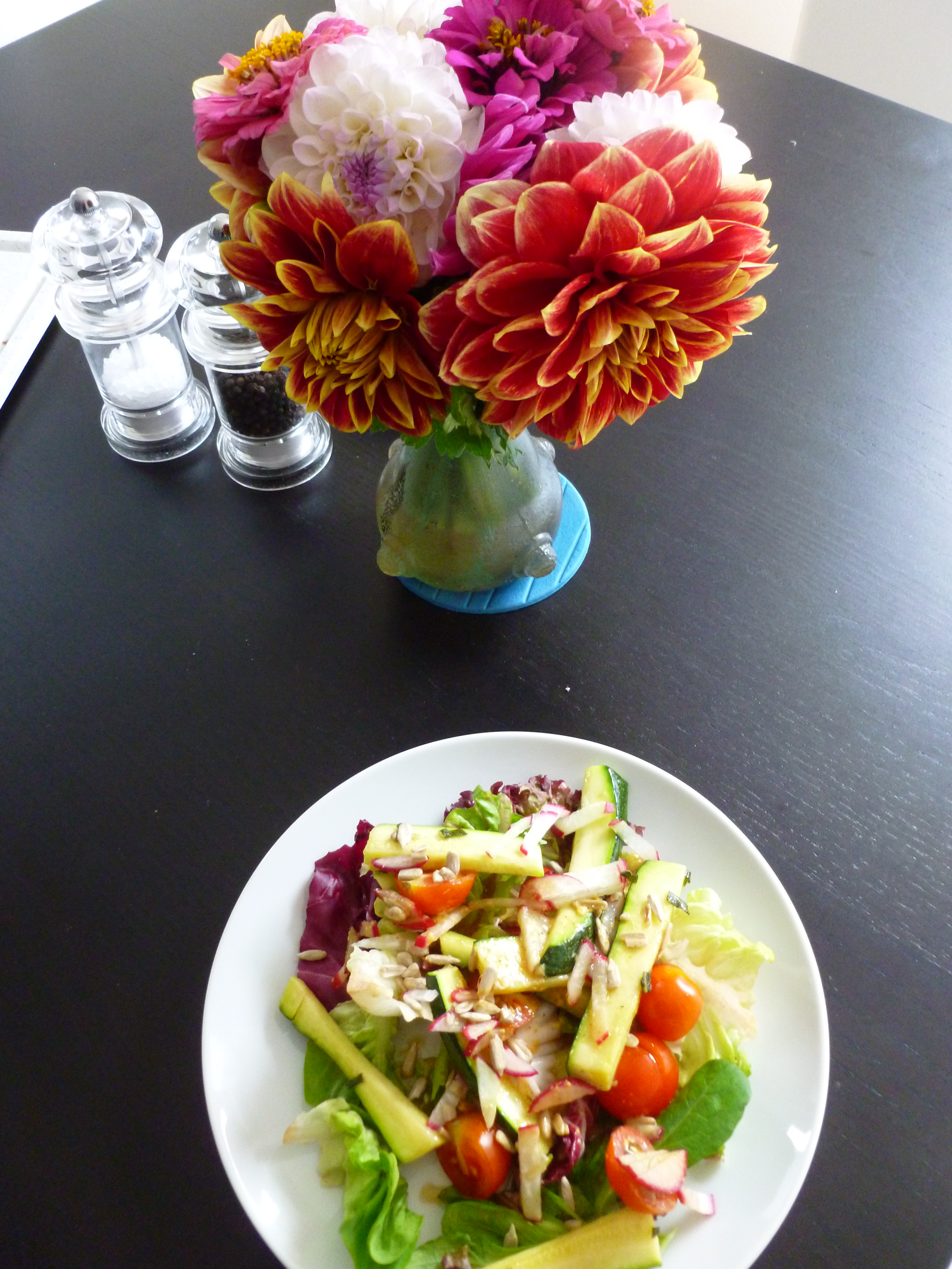 Flowers and Salad - a perfect colour combination