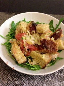 Winter Panzanella salad ...on her bed of rocket...